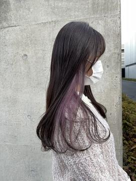 *インナーカラーピンクパープル大人可愛いイヤリングカラー