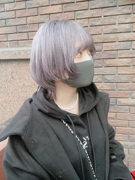 【丸山style】 ホワイトグレー×ミディアムウルフ
