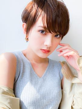 30代40代50代ハンサムショート/ボブ/小顔/マロンベージュ/前髪
