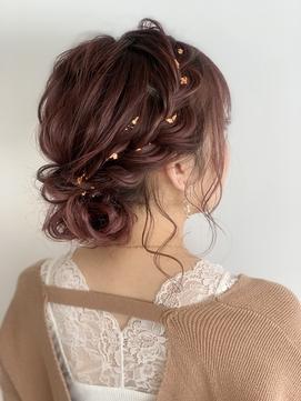 金箔ヘア 編み込みアレンジ 編み込み 結婚式 ブライダル 花嫁
