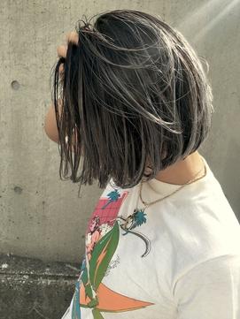 【外国人風ハイライトカラー】小顔ショートボブ×3Dカラー