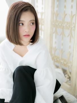 【シエル松戸】艶カラーxかきあげ前髪切りっぱなしワンレンボブb
