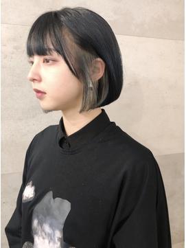 黒髪インナーカラーボブ/ミニボブ/インナーハイライト