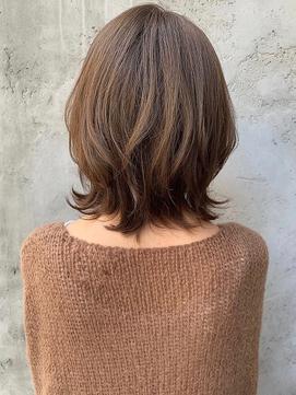 抜け感くびれミディ 薄めバング 前髪 イメチェン デジタルパーマ