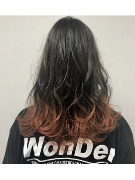 Austグラデーションカラー×アプリコットオレンジ☆裾カラー