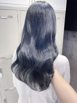 ネイビーブルー ブルーパープル ブルーブラックガーリーヘア