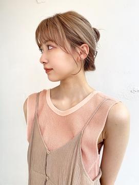 〇韓国ヘアクリップアレンジ 顔まわりレイヤー おくれ毛