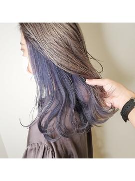青紫のインナーカラーでおしゃれ感up☆派手髪好きにも♪