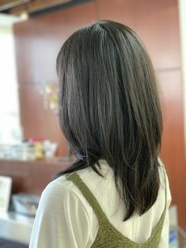 重め黒髪地毛風Cカール/小顔ストレートレイヤー/くすみカラー