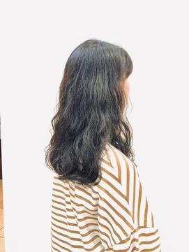 無造作/デジタルパーマ/ロングレイヤー/30代40代50代/黒髪/