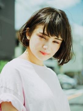 ショートパーマ×黒髪