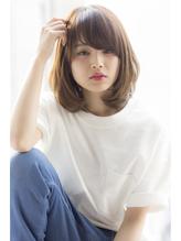 ふんわり小顔ひし形ミディアム×明るめ春色カーキアッシュ 春色.12