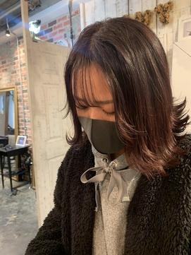 お顔まわりレイヤーレッドブラウン stylist/miaki
