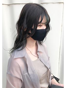 暗色おしゃれヘア_黒髪×ネイビーインナーカラー_モード/490