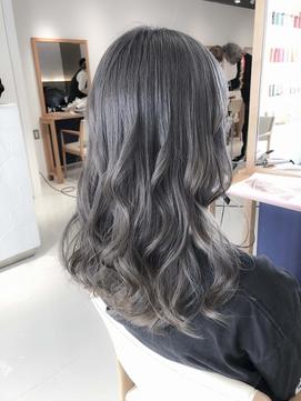 ブリーチなし透明感カラー☆ラベンダーアッシュブルージュ 黒髪