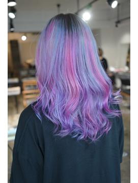 ピンクと水色とパープルの3色ユニコーンカラー