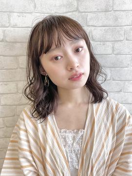 【ORO】広め前髪の毛先カールミディー 益子
