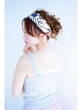 【Ciel】 ミディアムヘアで作るお団子スカーフアレンジ
