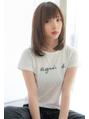 上田イメチェン☆ラベンダーカラー薄め前髪ストレートミディ