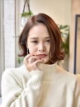 大人かわいい似合わせミニマムボブワンレン3Dカラーボルドー神戸.58