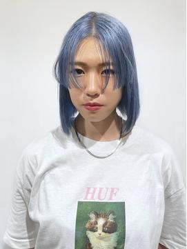 プリンセスカット(姫カット)×ペールブルー