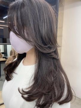 小顔に見せるヘア オルチャンヘア/ラベージュ/チークバング