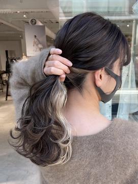 #あこヘア インナーカラー イヤリングカラー ハイライト 透明感