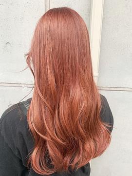 オレンジピンク/暖色カラー/ブリーチ必須カラー