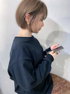 nude仲井【大人かわいい】ミニボブ/ミルクティーベージュ