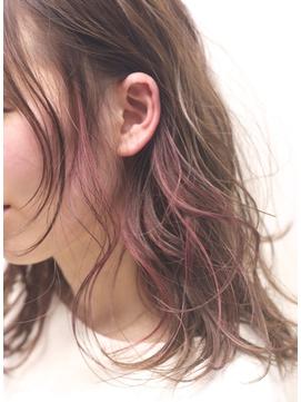 アクセサリーカラー ピンクのインナーハイライト