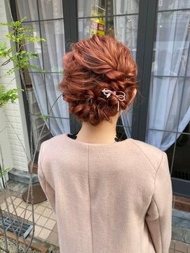 【eme】カジュアルヘアセット×ダブルカラーピンク