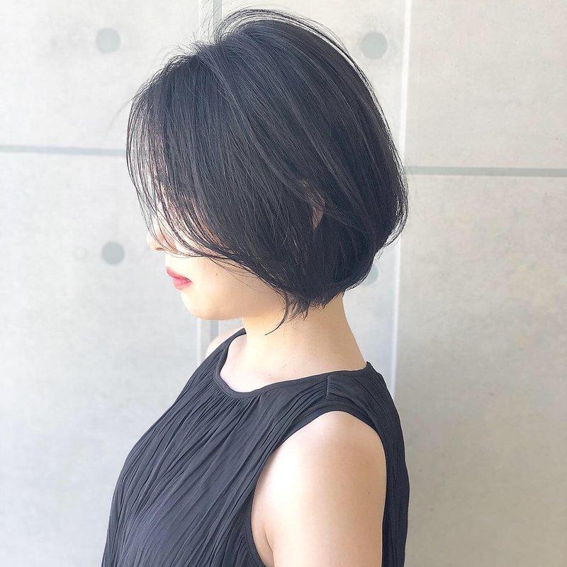 【Blanc-難波】ブルーブラック_韓国風ボブ_ネイビーブラック