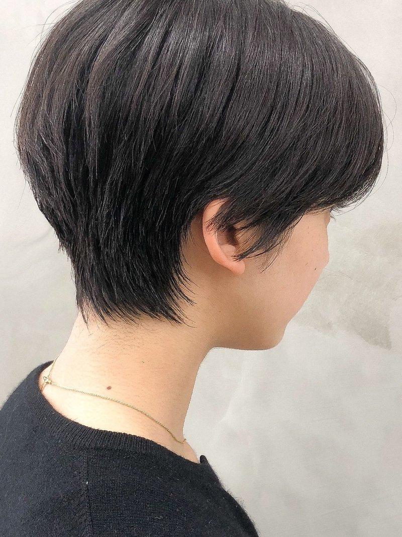 ※センターパート のナチュラル黒髪ベリーショート<徳竹>