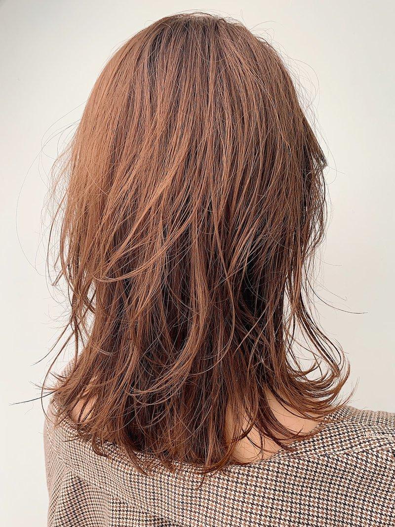 大人かわいい前髪xココアブラウンxフリンジウェーブ795