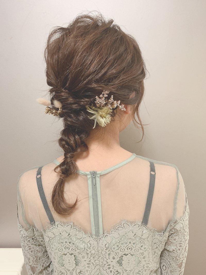 * arrange hair * ×  小花を散りばめた編み下ろし