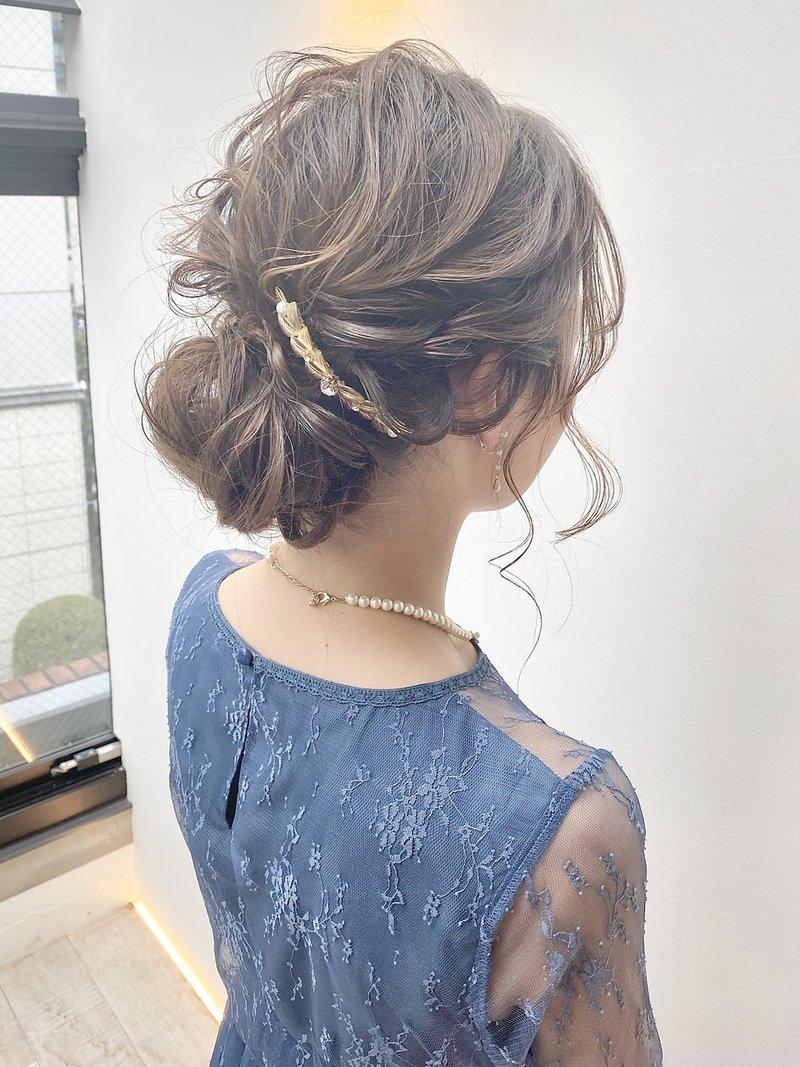 ゆるめルーズシニヨン 結婚式 パーティーアップ