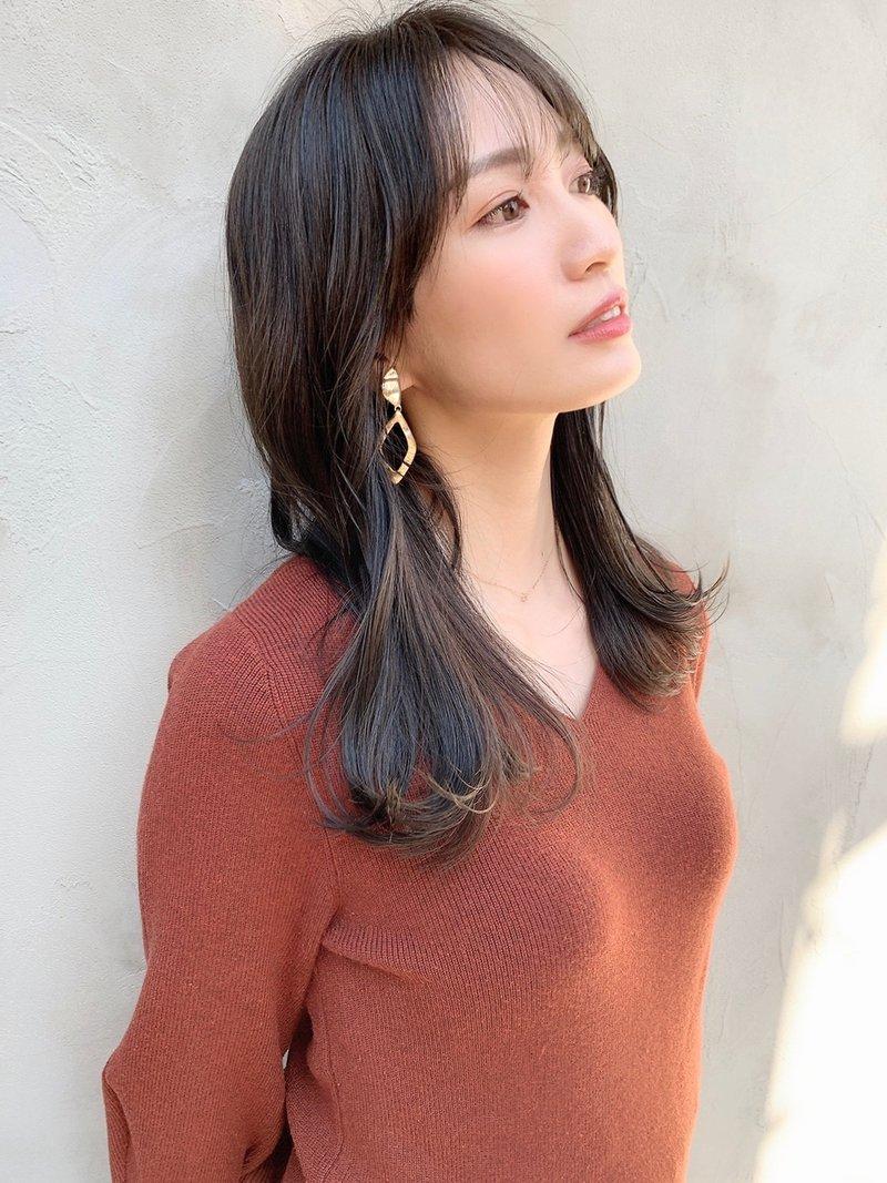 【美人百花OLヘア】シースルーバング透明感カラー