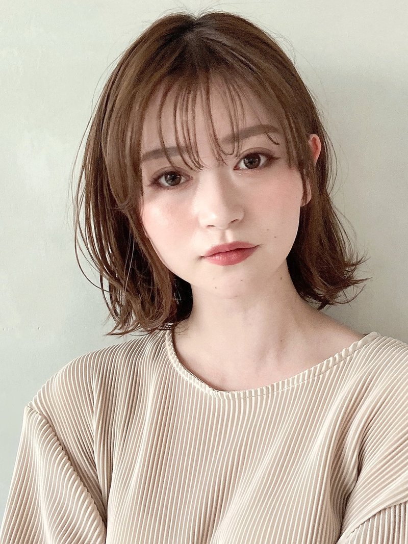 外ハネくびれボブルフ♪ピンクベージュデジタルパーマ小顔 時田
