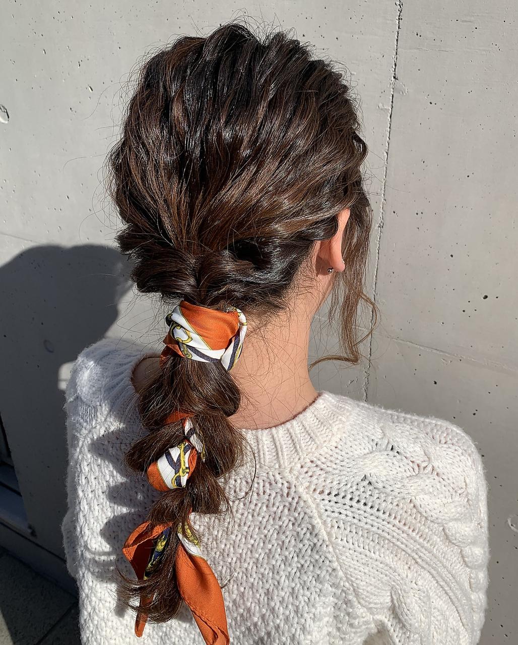 スカーフアレンジ。