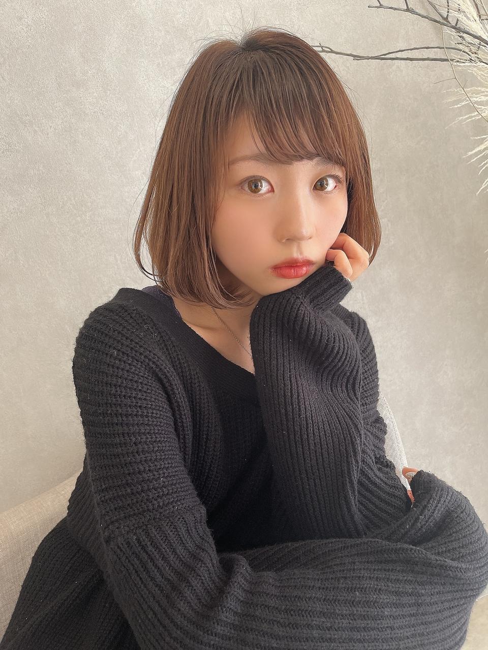【表参道】ワンカールボブ×艶髪×透け感カラー×インナーカラー