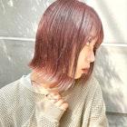 ベイビーピンク/ピンクブラウン/フェザーボブ/ピンクベージュ