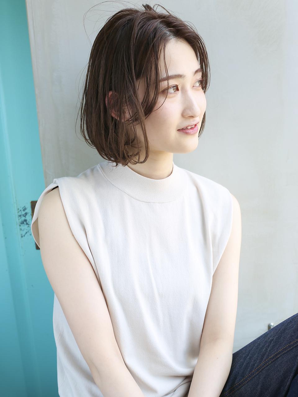 天神【BIRTH】マロンベージュ×前髪長めAラインボブ